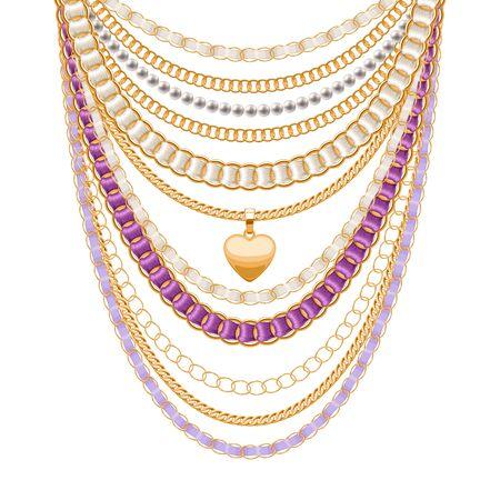 Veel ketens gouden metalen en parels ketting. Linten gewikkeld. Gouden hart hanger. Persoonlijke mode-accessoire ontwerp.