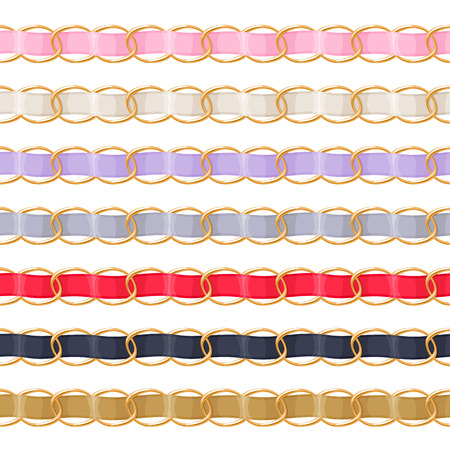 threaded: Golden chains set with colorful threaded fabric ribbon vector brush. Good for necklace, bracelet, jewelry accessory design.