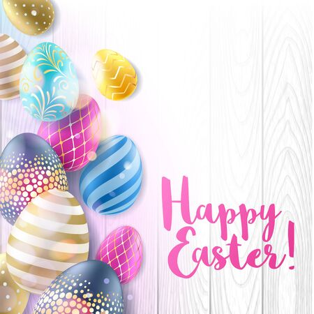 painted the cover illustration: Colorful bright Easter eggs on white wooden background. Realistic eggs, decorated with golden waves, dots, lines and flowers. Good for greeting card cover banner design.