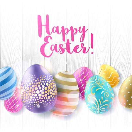 easter background: Colorful bright Easter eggs on white wooden background. Realistic eggs, decorated with golden waves, dots, lines and flowers. Good for greeting card cover banner design.