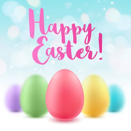 red and blue: Colorful bright Easter eggs background. Good for greeting card cover banner design.