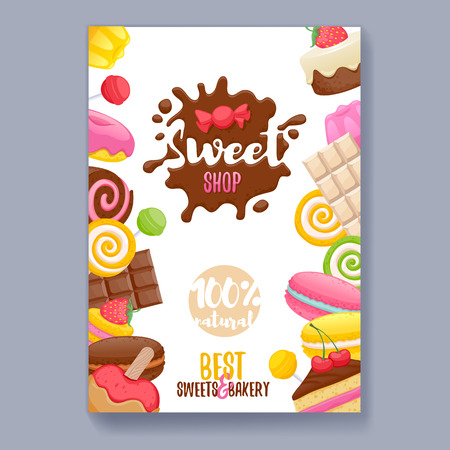 sweet shop: Assorted sweets colorful background with chocolate splash drop blot. Lollipops, cake, macarons, chocolate bar, candies and donut on shine background. Sweet shop. Poster cover design.