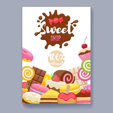donut shop: Assorted sweets colorful background with chocolate splash drop blot. Lollipops, cake, macarons, chocolate bar, candies and donut on shine background. Sweet shop. Poster cover design.