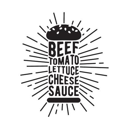 burger: Black and white burger icon with shine. Food vecor illustration. Illustration