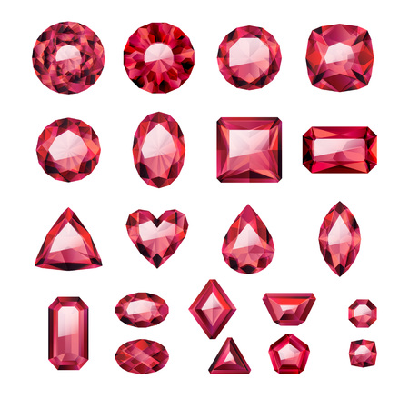 ruby: Set of realistic red jewels. Colorful gemstones. Rubies isolated on white background.