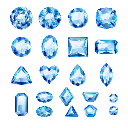 sapphire gemstone: Set of realistic blue jewels. Colorful gemstones. Sapphires isolated on white background.