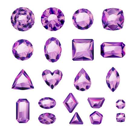Set of realistic purple jewels. Colorful gemstones. Amethysts isolated on white background.