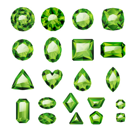 gems: Set of realistic green jewels. Colorful gemstones. Green emeralds isolated on white background.