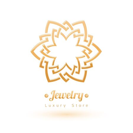 vignettes: Elegant golden vector jewelry decoration. Ethnic floral vignettes. Good for fashion jewelry store design logo.