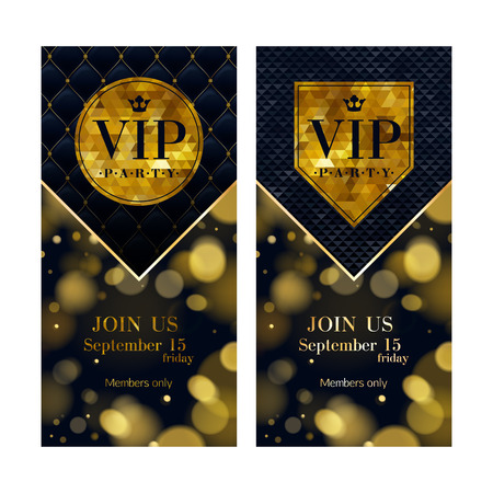 VIP party premium invitation cards posters flyers set. Black and golden design templates. Glow bokeh and quilted pattern decorative background. Mosaic faceted letters. Stock Illustratie