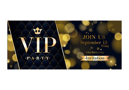 VIP パーティー プレミアム招待状カード ポスター ・ フライヤー。黒と金のデザイン テンプレートです。グローのボケ味とキルト パターンの装飾的