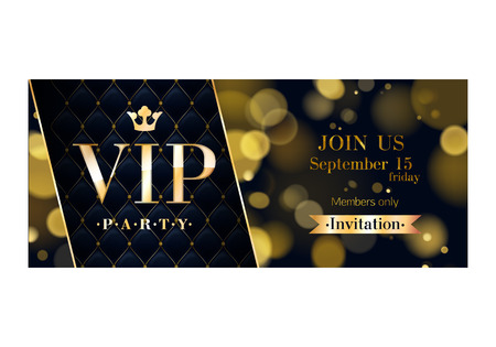 club: VIP party premium invitation card poster flyer. Black and golden design template. Glow bokeh and quilted pattern decorative background. Mosaic faceted letters.