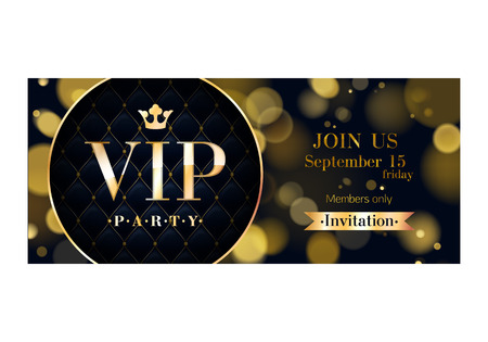 VIP party premium invitation card poster flyer. Black and golden design template. Glow bokeh and quilted pattern decorative background. Mosaic faceted letters.