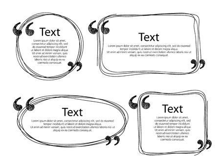 Quote frames templates set vector illustration. Hand drawn scribble design.