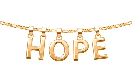 pendant: Golden HOPE word pendant on chain necklace. Jewelry design.