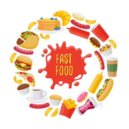 soda splash: Beautiful  fast food icons round background. Cheeseburger pizza tea coffee cola chips pancakes donuts french fries hot dog taco muffin mustard ketchup vector illustration. Illustration