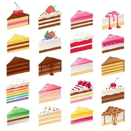 porcion de pastel: Coloridos pasteles dulces rebanadas pedazos fijados dibujado a mano ilustración vectorial. Vectores
