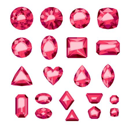 ruby stone: Set of flat style red jewels. Colorful gemstones. Rubies isolated on white background. Illustration