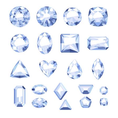 diamond cut: Set of flat style white jewels. Colorful gemstones. Diamonds isolated on white background. Illustration