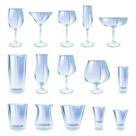 glass cup: Alcohol drinks glasses set outline vector illustration. Wine whiskey vodka beer crockery.