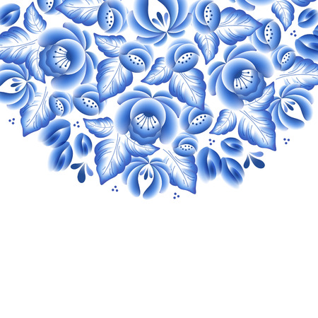 blue white: Blue flowers floral russian porcelain beautiful folk ornament. Vector illustration. Decorative composition. Illustration