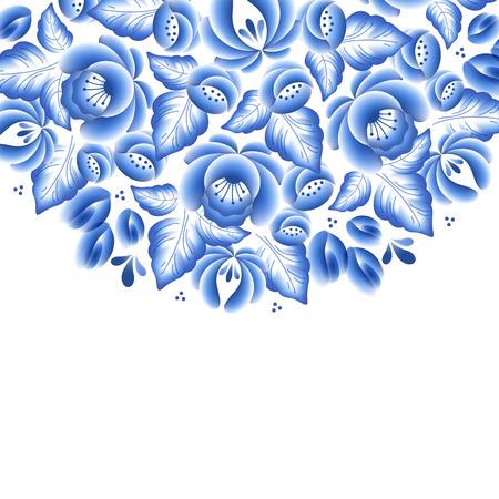 Flores de color azul porcelana ruso ornamento hermoso popular floral. Ilustración del vector. Composición decorativa.