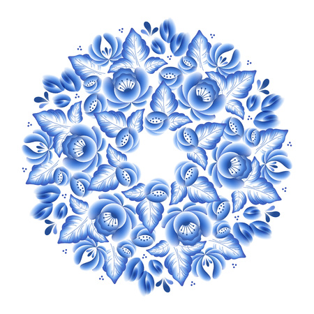 traditional pattern: Blue flowers floral russian porcelain round frame with beautiful folk ornament. Vector illustration. Decorative composition.