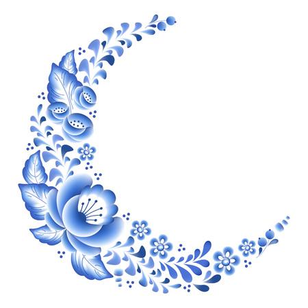Flores de color azul porcelana ruso ornamento hermoso popular floral. Ilustración del vector. Decoración Composición de la esquina. Foto de archivo - 54199427