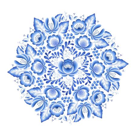 flores chinas: Flores de color azul de flores de porcelana ruso marco redondo con hermoso adorno popular. Ilustración del vector. Composición decorativa. Vectores