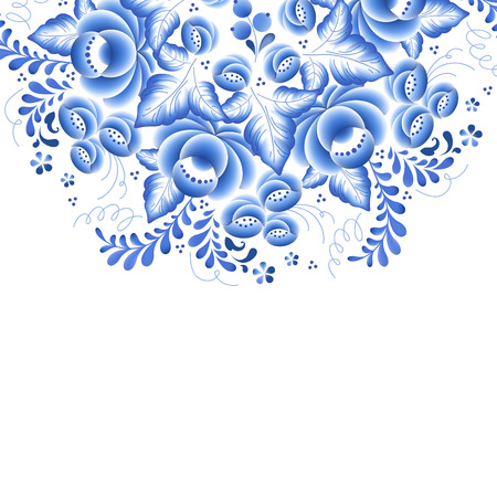 porcelain flower: Blue flowers floral russian porcelain beautiful folk ornament. Vector illustration. Decorative composition. Illustration