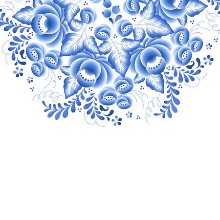 flores chinas: Flores de color azul porcelana ruso ornamento hermoso popular floral. Ilustración del vector. Composición decorativa.