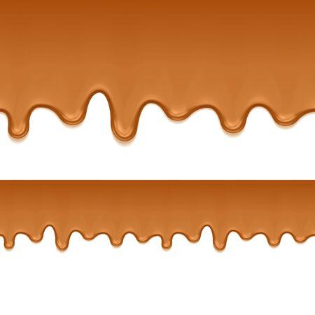 Caramel sweet drips flowing. Seamless horizontal border. Vector illustration.