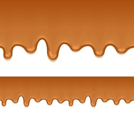 drips: Caramel sweet drips flowing. Seamless horizontal border. Vector illustration.