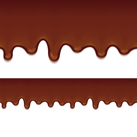 drips: Melted chocolate drips - seamless horizontal border. Sweet food background. Vector illustration. Illustration