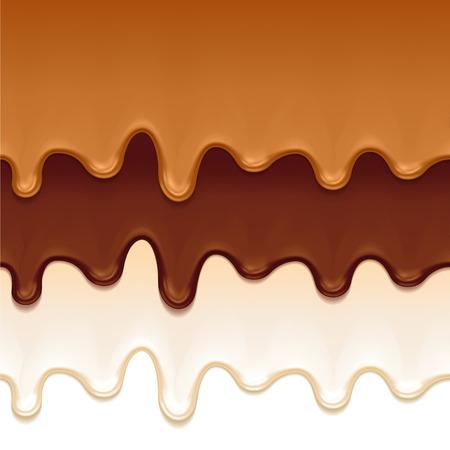 chocolate melt: Cioccolato fuso, caramello e yogurt gocciola - bordi orizzontali senza soluzione di continuità. Illustrazione vettoriale. Vettoriali