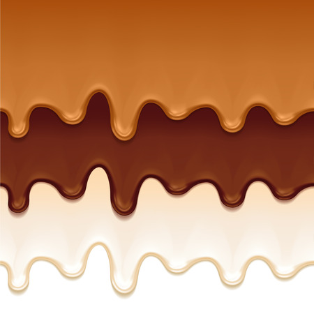 dark chocolate: Melted chocolate, caramel and yogurt drips - seamless horizontal borders set. Vector illustration.
