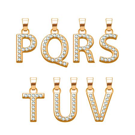pendants: Golden letters with diamonds gemstones abc pendants set. Vector illustration. Good for jewelry design. Illustration