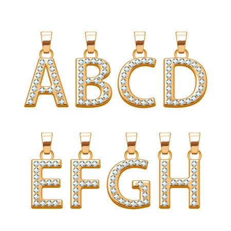 gemstones: Golden letters with diamonds gemstones abc pendants set. Vector illustration. Good for jewelry design. Illustration