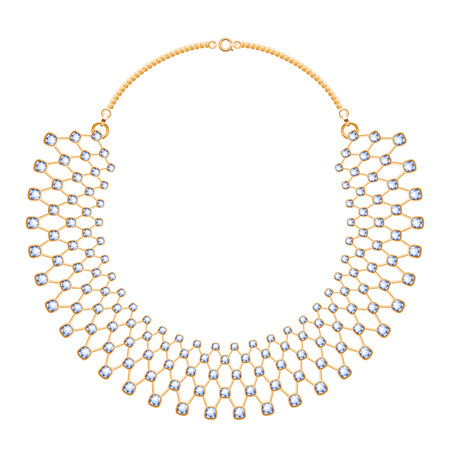 gemstones: Many chains golden metallic necklace with diamonds gemstones. Personal fashion accessory design.
