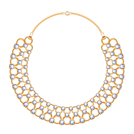 personal accessory: Many chains golden metallic necklace with diamonds gemstones. Personal fashion accessory design.