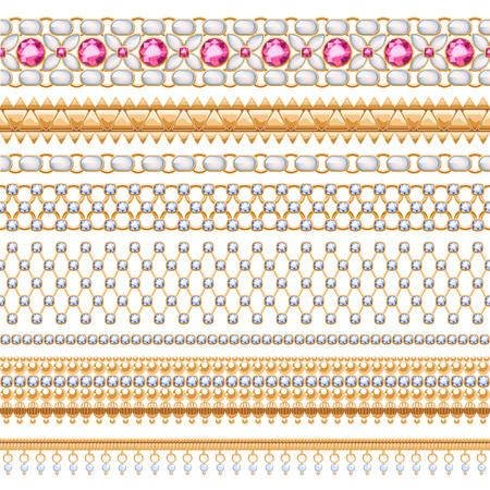 Bunten Edelsteinen nahtlose horizontale Grenzen gesetzt. Ethnische indischen Stil Design. Kette Armband Halskette Schmuck.