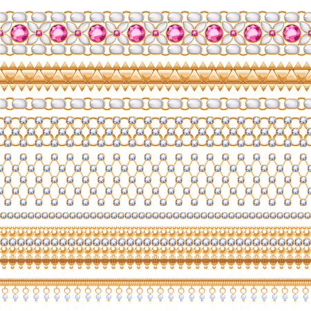 pearl: Colorful gemstones seamless horizontal borders set. Ethnic indian style design. Chain bracelet necklace jewelry. Illustration