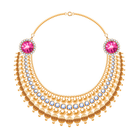 personal accessory: Many chains golden metallic necklace with diamonds and rubies gemstones. Personal fashion accessory design.