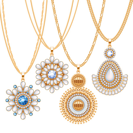 pendants: Set of golden chains with different pendants. Precious necklaces. Ethnic indian style brooches pendants with gemstones pearls. Include chains brushes.