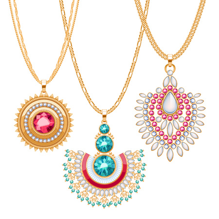 necklaces: Set of golden chains with different pendants. Precious necklaces. Ethnic indian style brooches pendants with gemstones pearls. Include chains brushes.