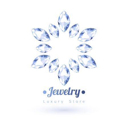 silhouette fleur: Pierres blanches de symboles de bijoux. Étoile ou en forme de fleur. Diamants sur fond blanc.