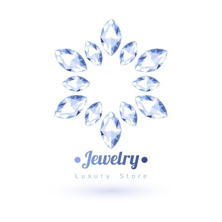gemstones: White gemstones jewelry symbol. Star or flower shape. Diamonds on white background.