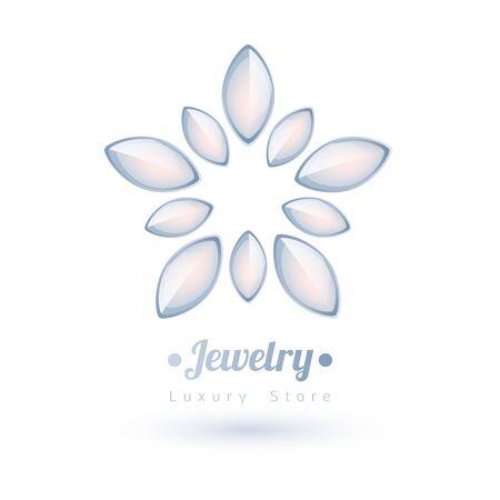 gemstones: White gemstones jewelry symbol. Star or flower shape. Pearls on white background.