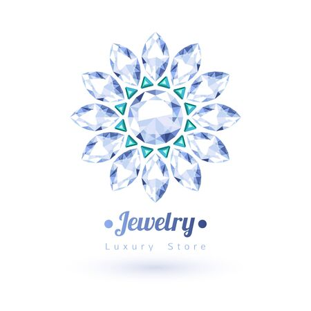 green gemstones: White and green gemstones jewelry symbol. Star or flower shape. Emeralds and diamonds on white background.