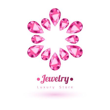 silhouette fleur: Pierres précieuses roses de symboles de bijoux. Étoile ou en forme de fleur. Rubis sur fond blanc.